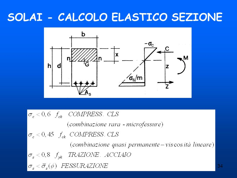 SOLAI - CALCOLO ELASTICO SEZIONE