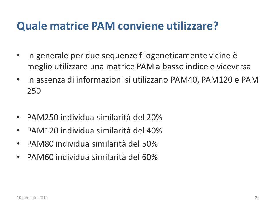 Quale matrice PAM conviene utilizzare