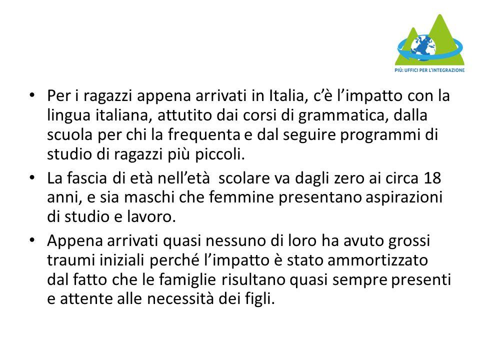 Per i ragazzi appena arrivati in Italia, c'è l'impatto con la lingua italiana, attutito dai corsi di grammatica, dalla scuola per chi la frequenta e dal seguire programmi di studio di ragazzi più piccoli.