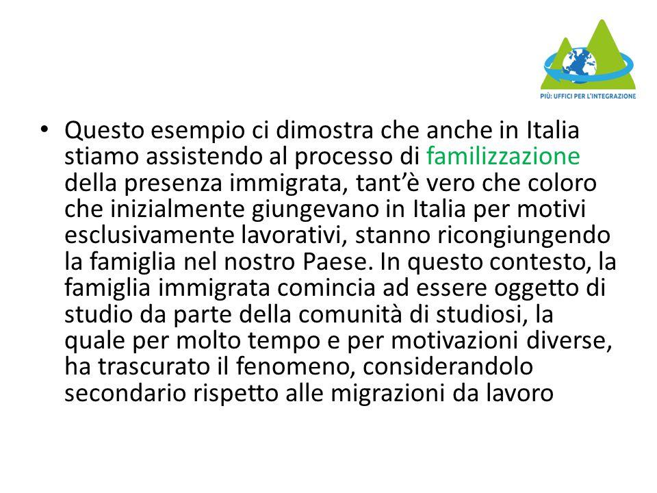 Questo esempio ci dimostra che anche in Italia stiamo assistendo al processo di familizzazione della presenza immigrata, tant'è vero che coloro che inizialmente giungevano in Italia per motivi esclusivamente lavorativi, stanno ricongiungendo la famiglia nel nostro Paese.