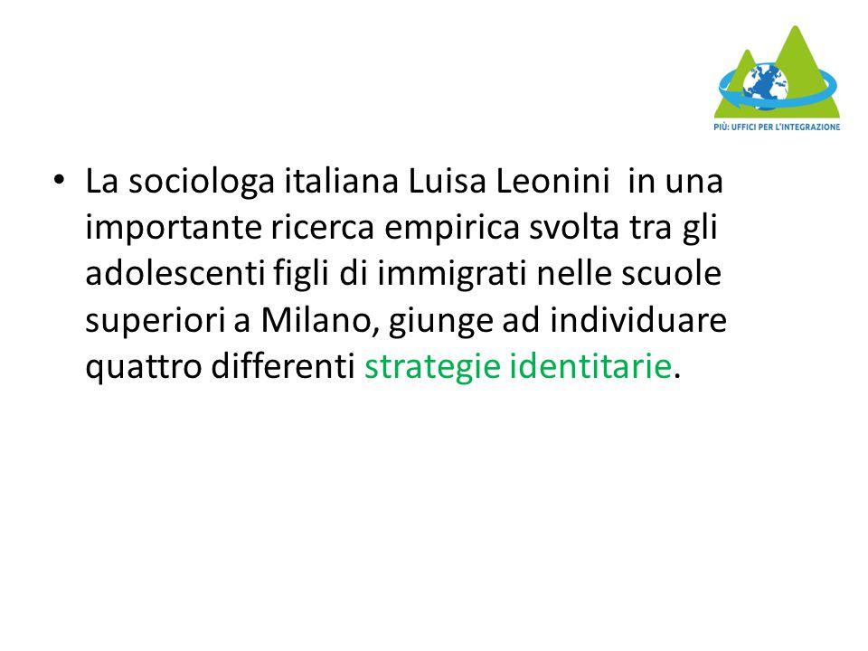 La sociologa italiana Luisa Leonini in una importante ricerca empirica svolta tra gli adolescenti figli di immigrati nelle scuole superiori a Milano, giunge ad individuare quattro differenti strategie identitarie.
