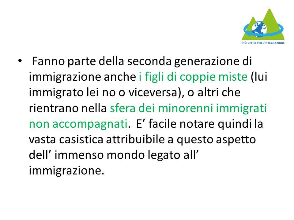 Fanno parte della seconda generazione di immigrazione anche i figli di coppie miste (lui immigrato lei no o viceversa), o altri che rientrano nella sfera dei minorenni immigrati non accompagnati.