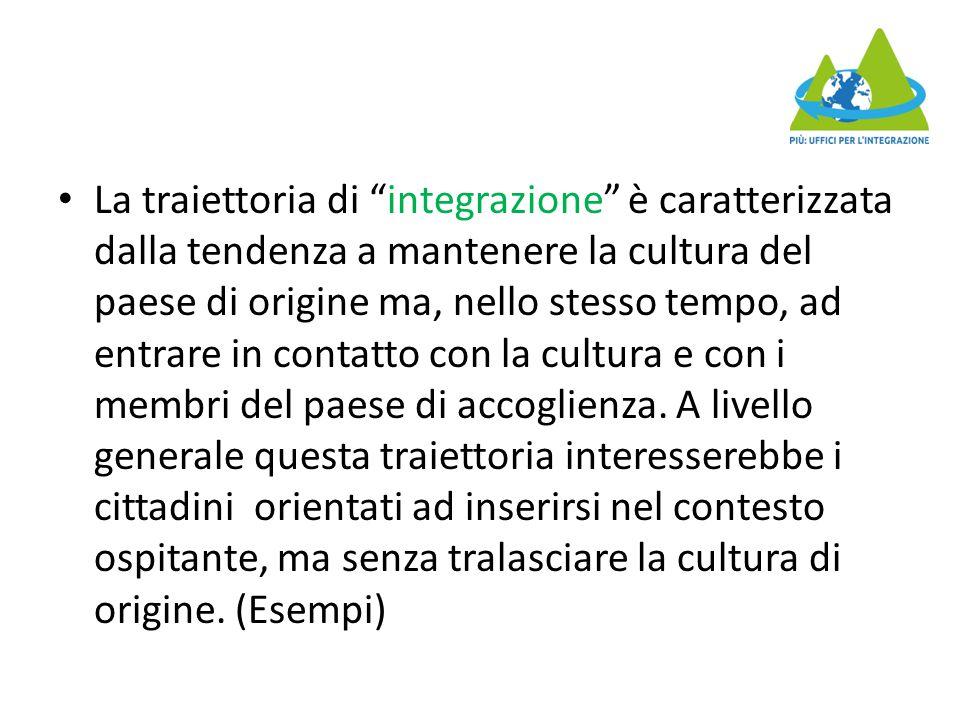 La traiettoria di integrazione è caratterizzata dalla tendenza a mantenere la cultura del paese di origine ma, nello stesso tempo, ad entrare in contatto con la cultura e con i membri del paese di accoglienza.