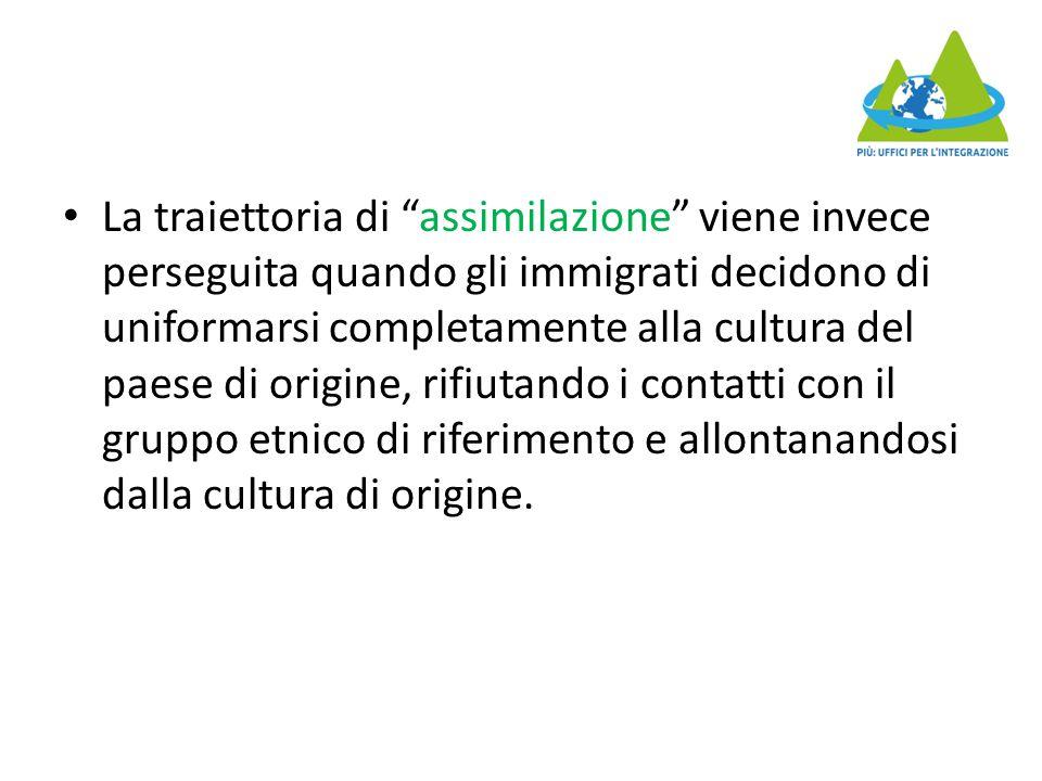 La traiettoria di assimilazione viene invece perseguita quando gli immigrati decidono di uniformarsi completamente alla cultura del paese di origine, rifiutando i contatti con il gruppo etnico di riferimento e allontanandosi dalla cultura di origine.