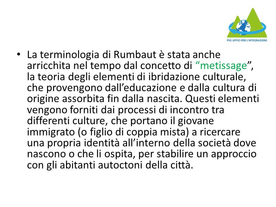 La terminologia di Rumbaut è stata anche arricchita nel tempo dal concetto di metissage , la teoria degli elementi di ibridazione culturale, che provengono dall'educazione e dalla cultura di origine assorbita fin dalla nascita.
