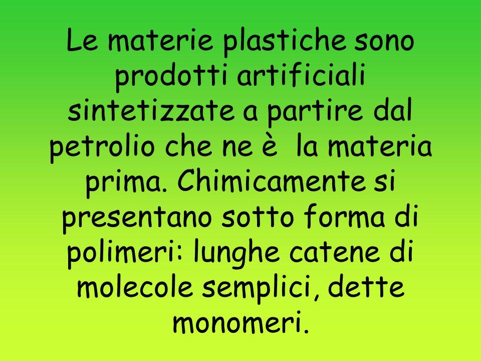 Le materie plastiche sono prodotti artificiali sintetizzate a partire dal petrolio che ne è la materia prima.
