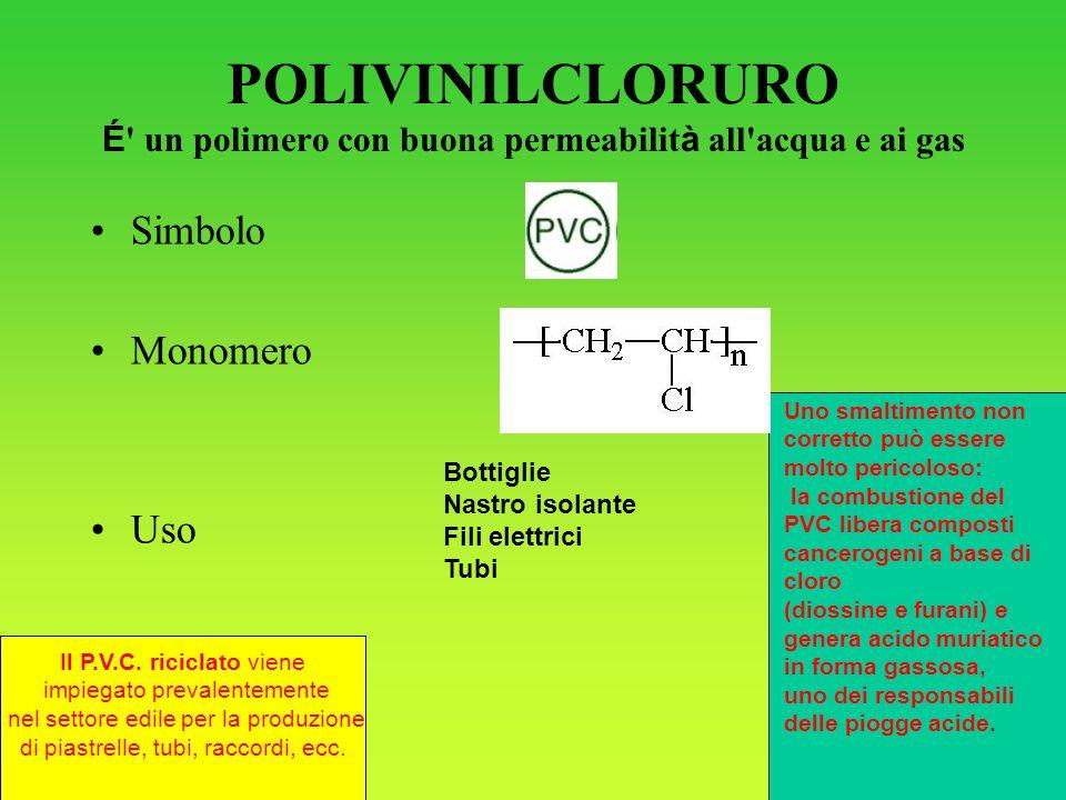 POLIVINILCLORURO É un polimero con buona permeabilità all acqua e ai gas