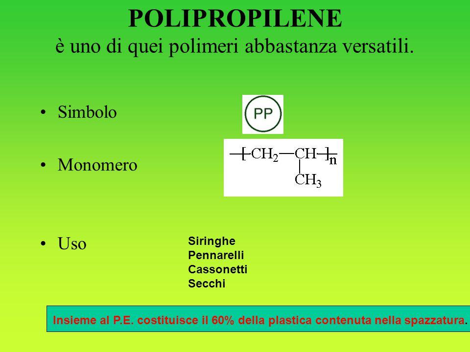 POLIPROPILENE è uno di quei polimeri abbastanza versatili.