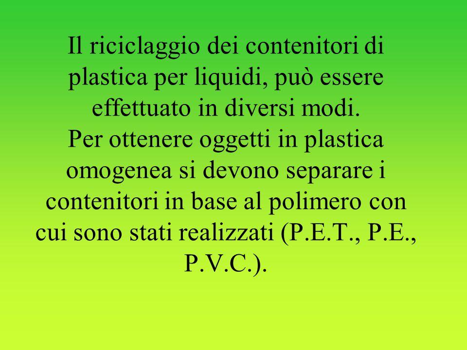 Il riciclaggio dei contenitori di plastica per liquidi, può essere effettuato in diversi modi.