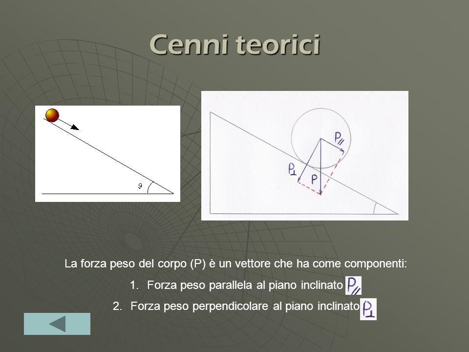 Cenni teorici La forza peso del corpo (P) è un vettore che ha come componenti: Forza peso parallela al piano inclinato.