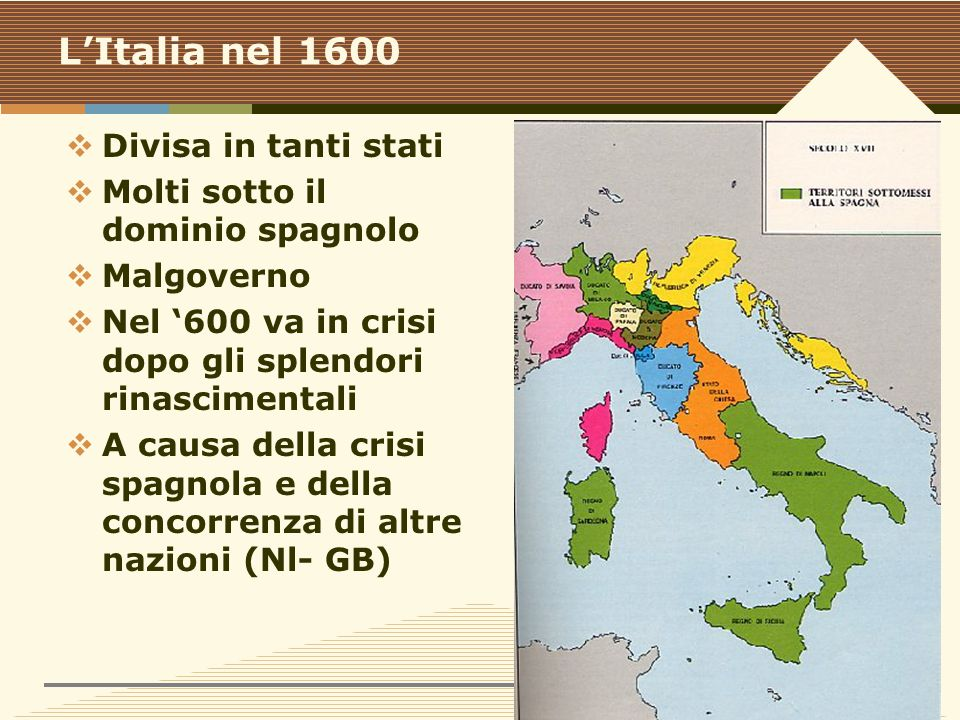 L'Italia nel 1600 Divisa in tanti stati