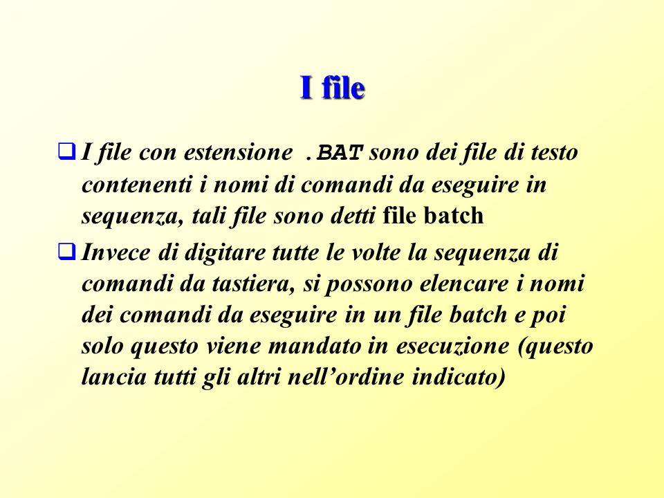 I file I file con estensione .BAT sono dei file di testo contenenti i nomi di comandi da eseguire in sequenza, tali file sono detti file batch.