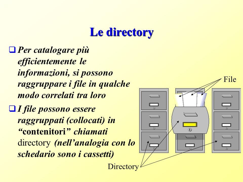 Le directory Per catalogare più efficientemente le informazioni, si possono raggruppare i file in qualche modo correlati tra loro.