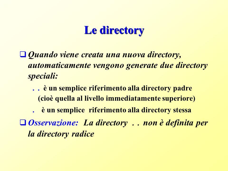 Le directory Quando viene creata una nuova directory, automaticamente vengono generate due directory speciali: