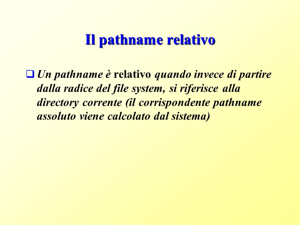 Il pathname relativo