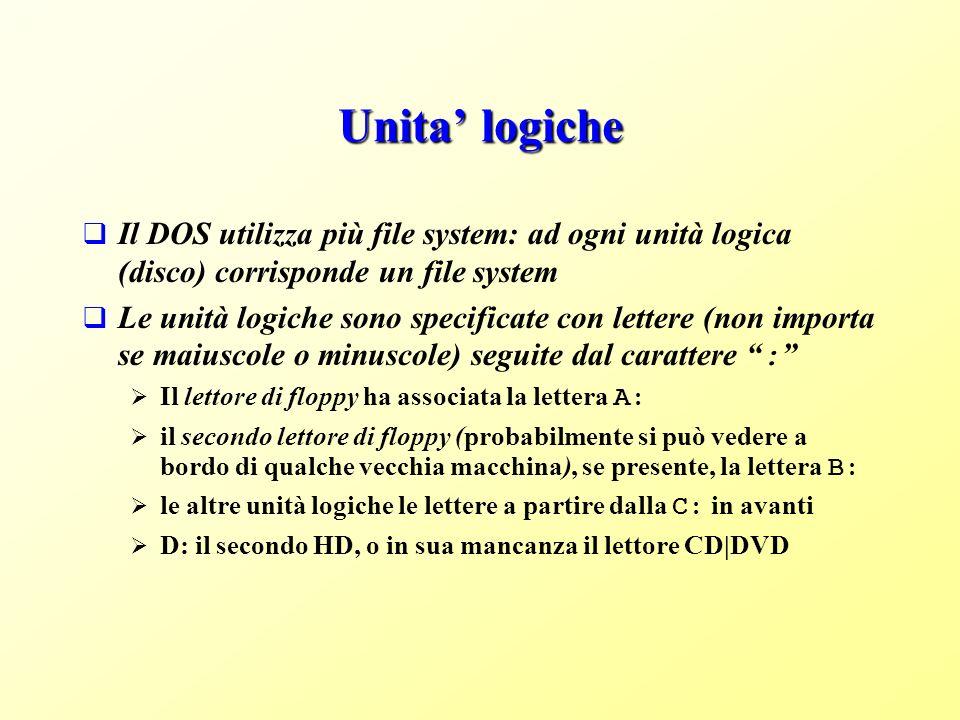 Unita' logiche Il DOS utilizza più file system: ad ogni unità logica (disco) corrisponde un file system.