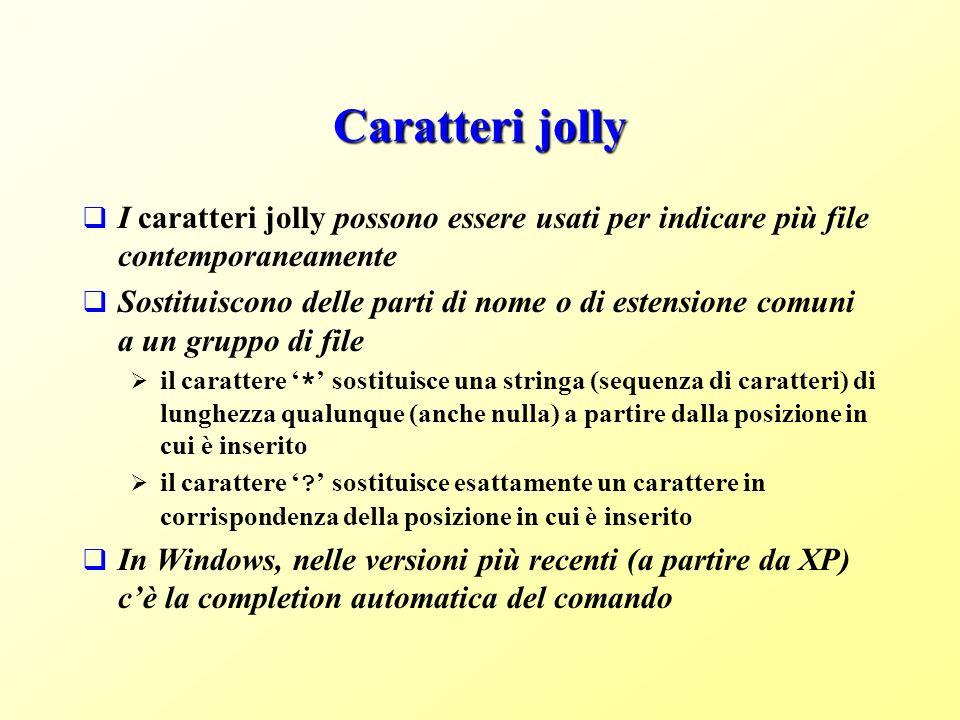 Caratteri jolly I caratteri jolly possono essere usati per indicare più file contemporaneamente.