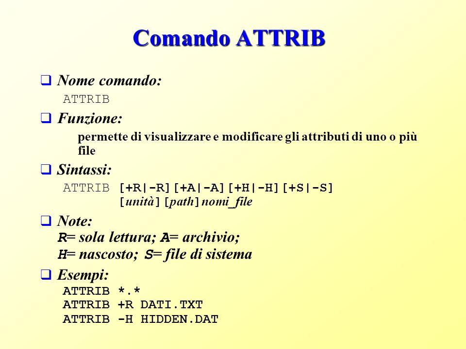 Comando ATTRIB Nome comando: Funzione: Sintassi: