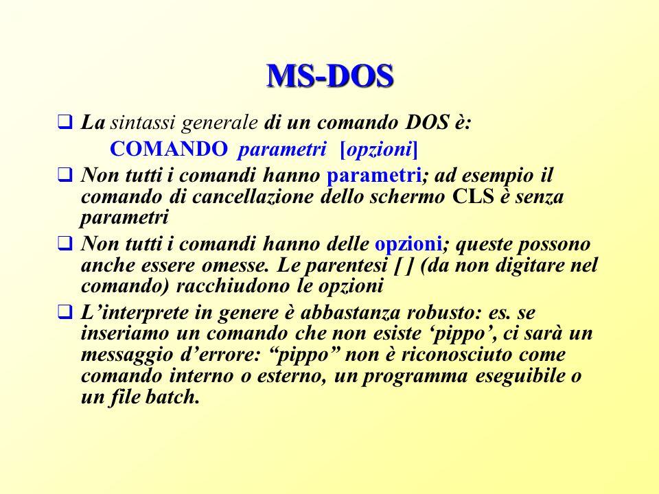 MS-DOS La sintassi generale di un comando DOS è: