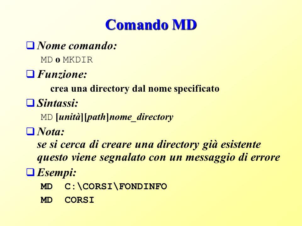 Comando MD Nome comando: Funzione: Sintassi: