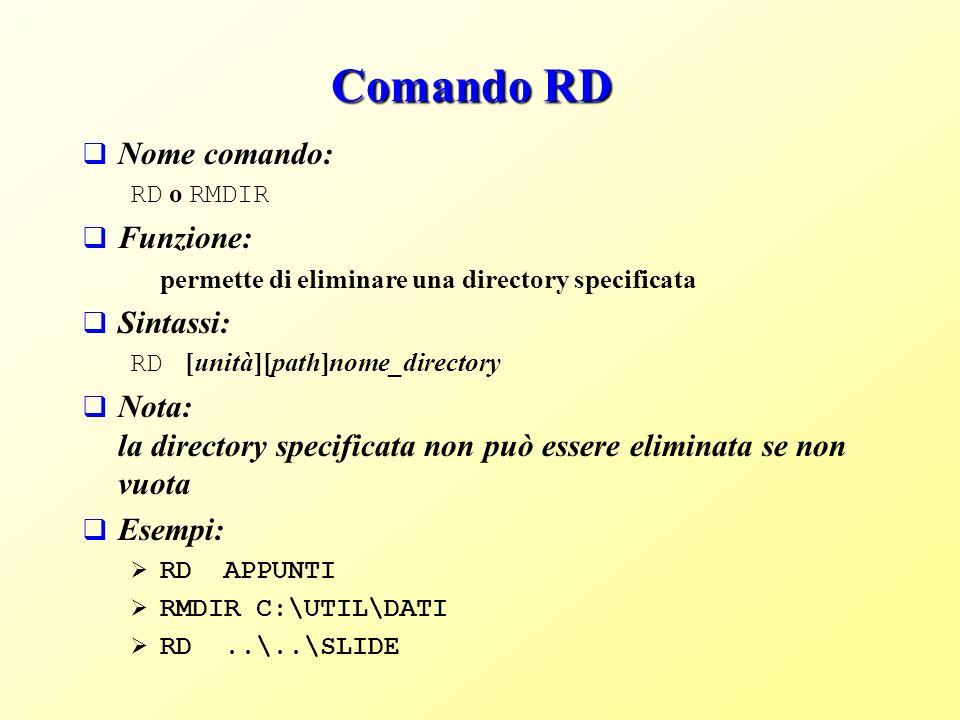 Comando RD Nome comando: Funzione: Sintassi: