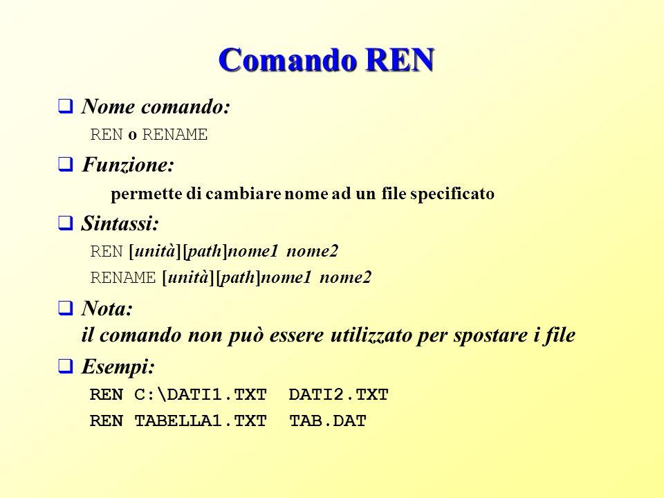 Comando REN Nome comando: Funzione: Sintassi: