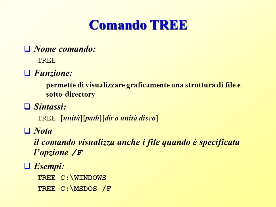 Comando TREE Nome comando: Funzione: Sintassi: