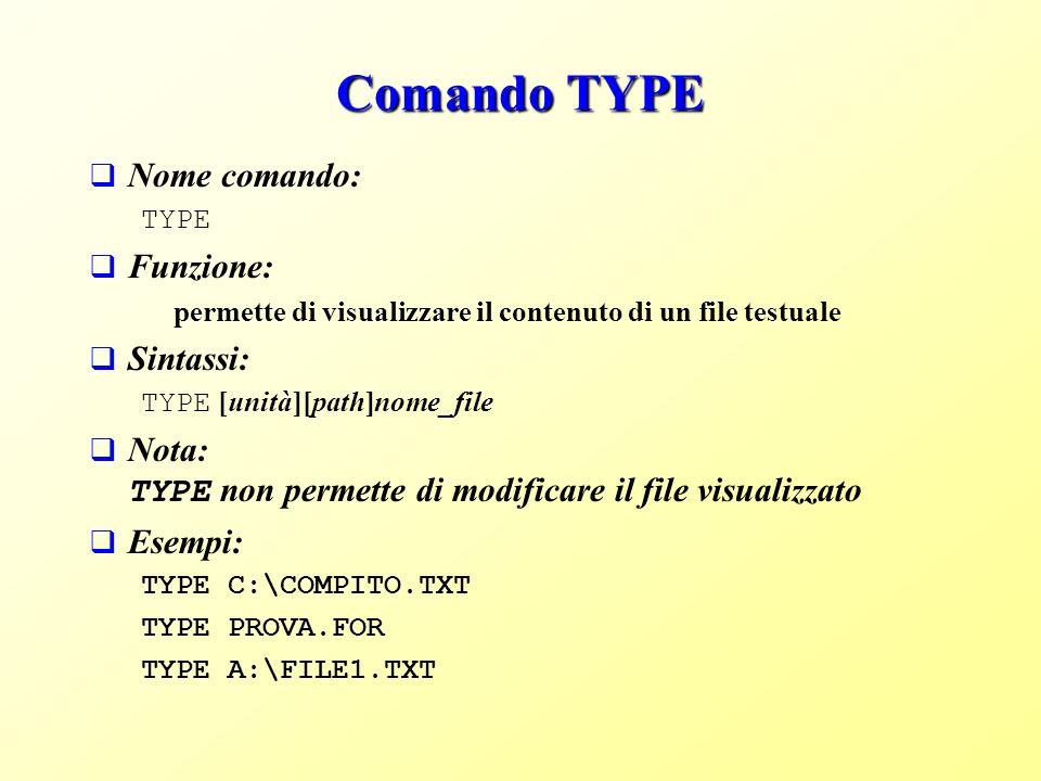 Comando TYPE Nome comando: Funzione: Sintassi: