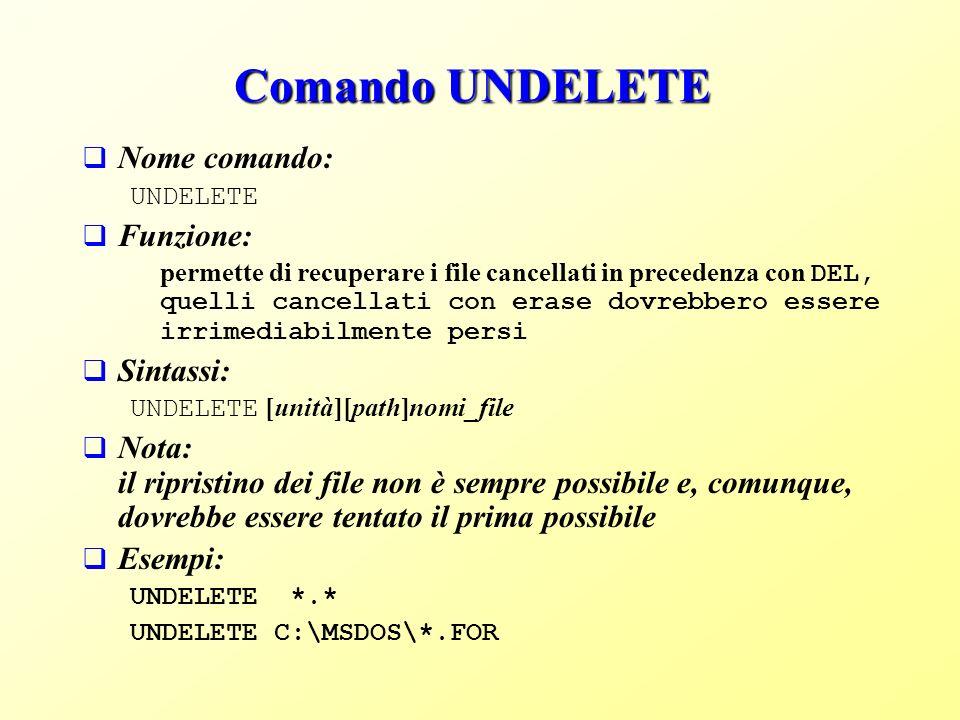 Comando UNDELETE Nome comando: Funzione: Sintassi:
