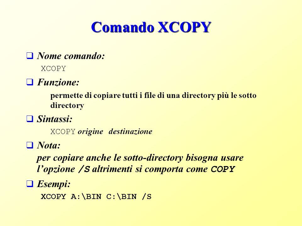Comando XCOPY Nome comando: Funzione: Sintassi: