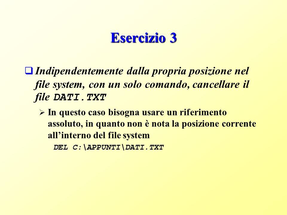 Esercizio 3 Indipendentemente dalla propria posizione nel file system, con un solo comando, cancellare il file DATI.TXT.