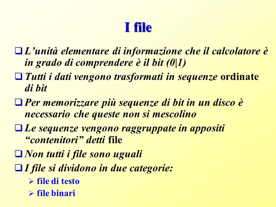 I file L'unità elementare di informazione che il calcolatore è in grado di comprendere è il bit (0|1)