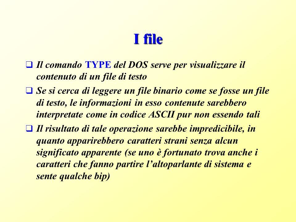 I file Il comando TYPE del DOS serve per visualizzare il contenuto di un file di testo.