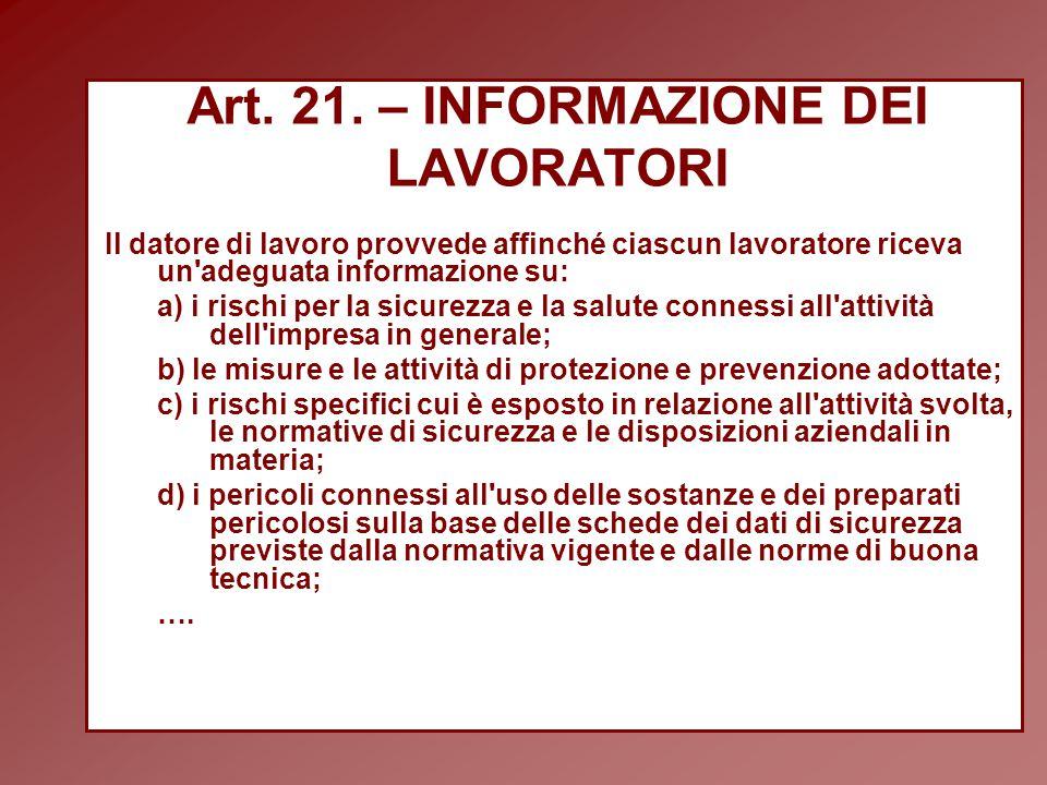 Art. 21. – INFORMAZIONE DEI LAVORATORI