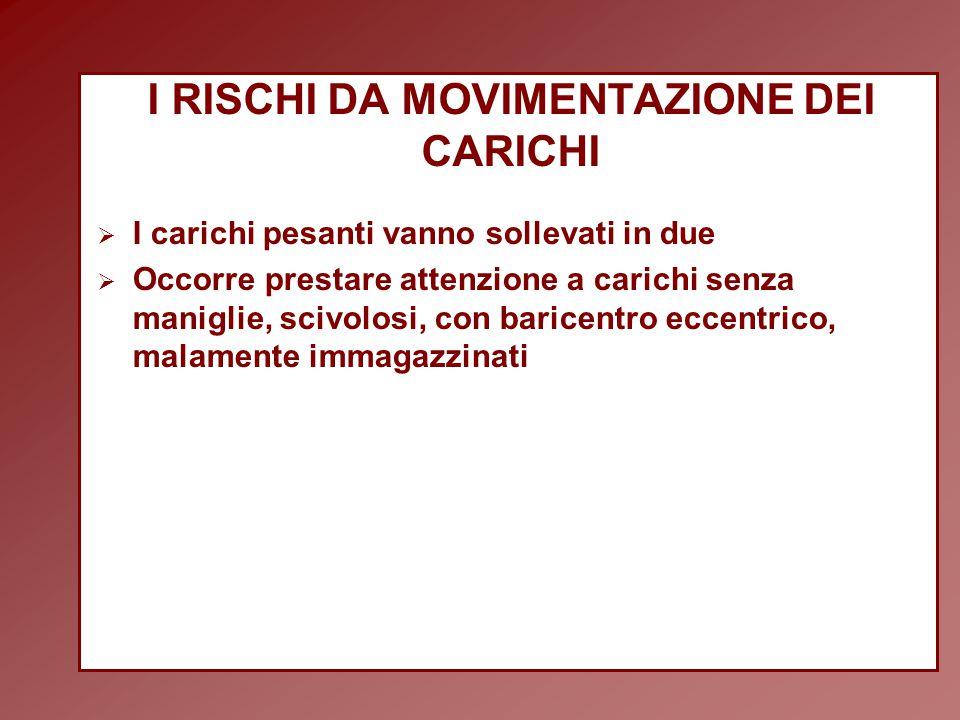 I RISCHI DA MOVIMENTAZIONE DEI CARICHI