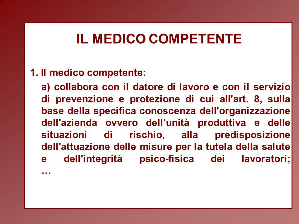 IL MEDICO COMPETENTE 1. Il medico competente: