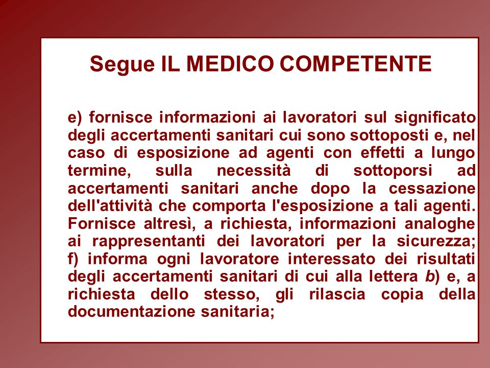 Segue IL MEDICO COMPETENTE