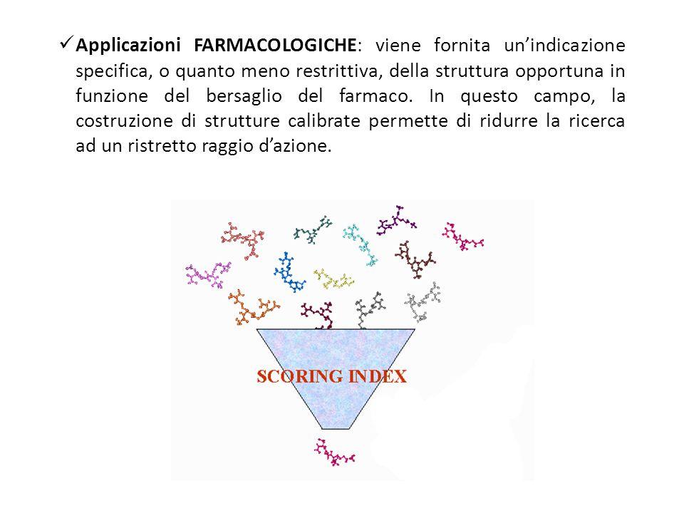 Applicazioni FARMACOLOGICHE: viene fornita un'indicazione specifica, o quanto meno restrittiva, della struttura opportuna in funzione del bersaglio del farmaco.