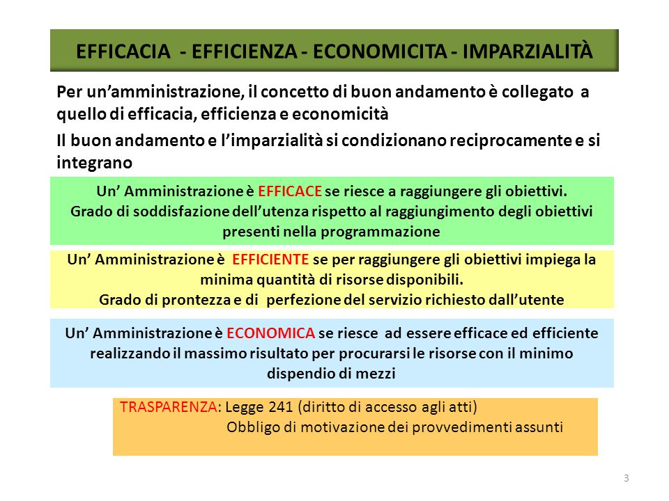EFFICACIA - EFFICIENZA - ECONOMICITA - IMPARZIALITÀ
