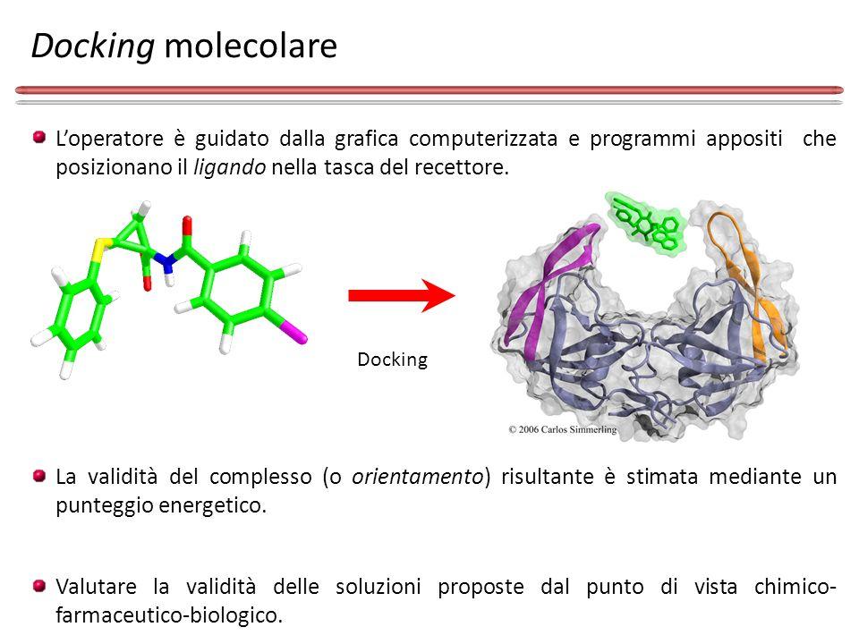 Docking molecolare L'operatore è guidato dalla grafica computerizzata e programmi appositi che posizionano il ligando nella tasca del recettore.