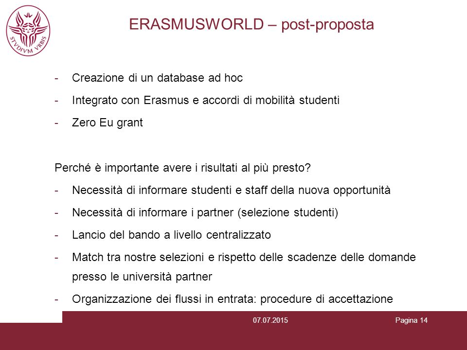 ERASMUSWORLD – post-proposta