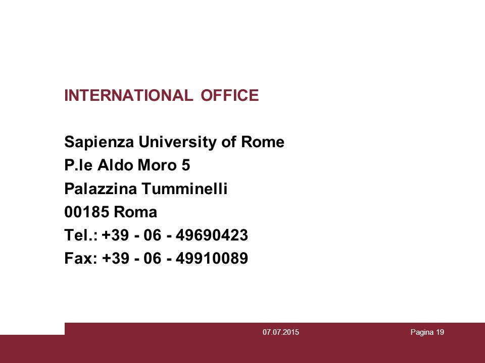 Sapienza University of Rome P.le Aldo Moro 5 Palazzina Tumminelli