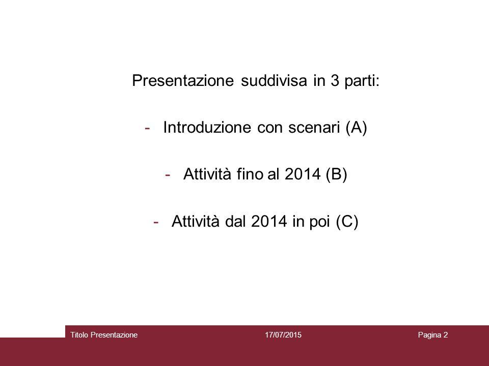 Presentazione suddivisa in 3 parti: Introduzione con scenari (A)