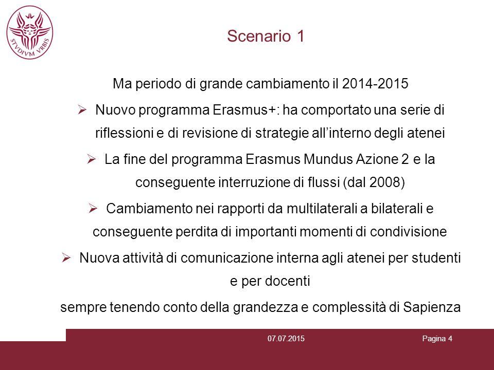 Scenario 1 Ma periodo di grande cambiamento il 2014-2015