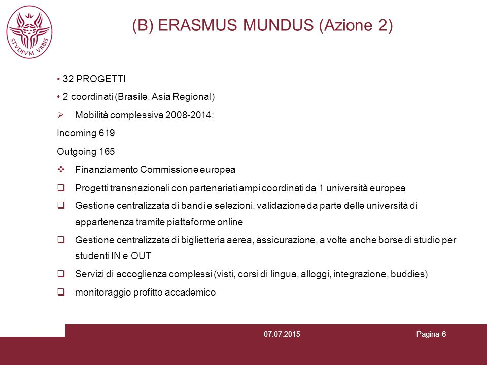 (B) ERASMUS MUNDUS (Azione 2)