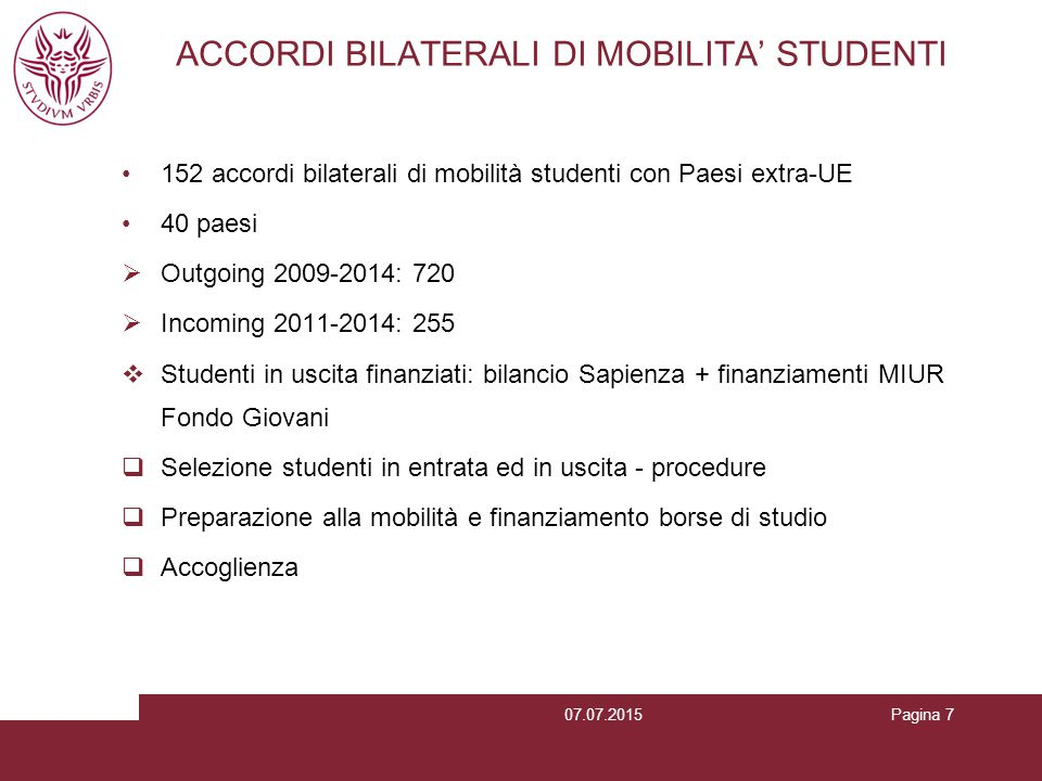 ACCORDI BILATERALI DI MOBILITA' STUDENTI
