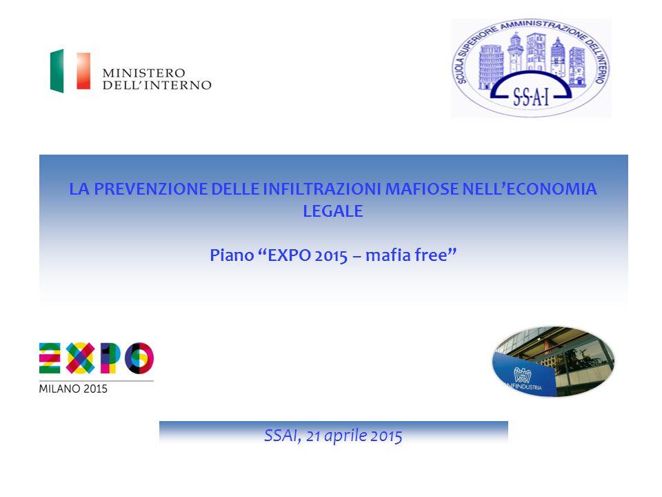 LA PREVENZIONE DELLE INFILTRAZIONI MAFIOSE NELL'ECONOMIA LEGALE Piano EXPO 2015 – mafia free