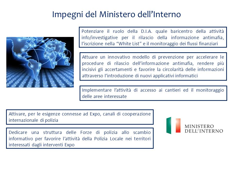 Impegni del Ministero dell'Interno