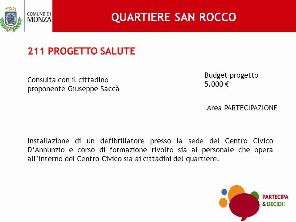 QUARTIERE SAN ROCCO 211 PROGETTO SALUTE Budget progetto