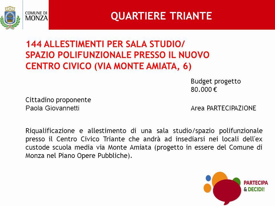 QUARTIERE TRIANTE 144 ALLESTIMENTI PER SALA STUDIO/ SPAZIO POLIFUNZIONALE PRESSO IL NUOVO CENTRO CIVICO (VIA MONTE AMIATA, 6)
